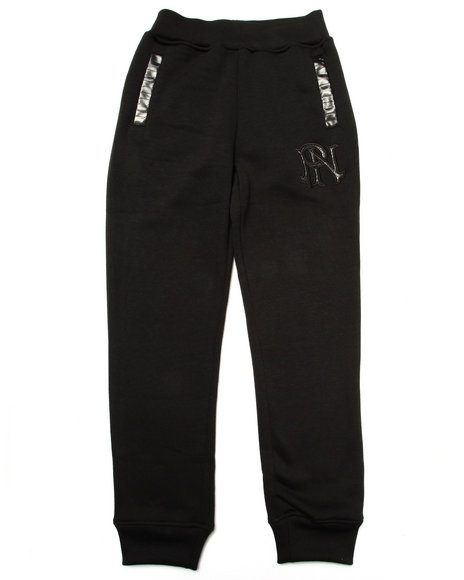 Parish - Boys Black Faux Leather Trim Fleece Joggers (8-20)