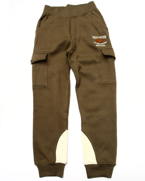 Parish - Boys Olive Fleece Quilted Joggers (8-20)
