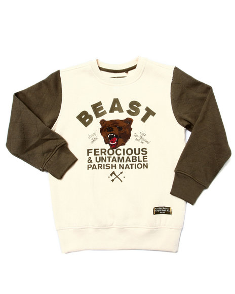 Parish - Boys Cream Beast Crewneck Sweatshirt (4-7)