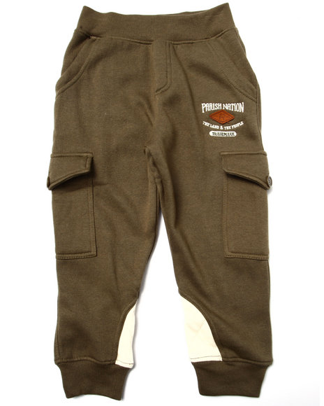 Parish - Boys Olive Fleece Quilted Joggers (4-7)
