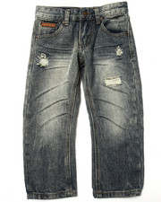 Bottoms - SUEDE TRIM DISTRESSED JEANS (4-7)