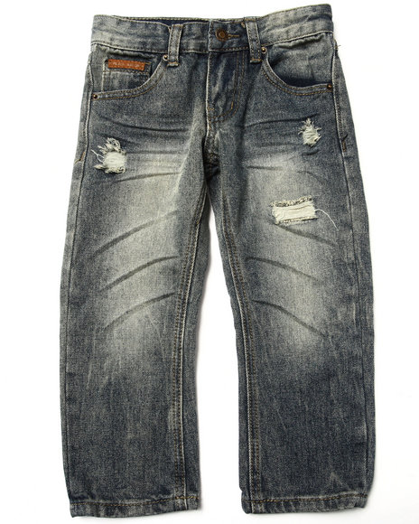 Parish - Boys Vintage Wash Suede Trim Distressed Jeans (4-7)
