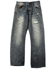 Sizes 8-20 - Big Kids - SUEDE TRIM DISTRESSED JEANS (8-20)