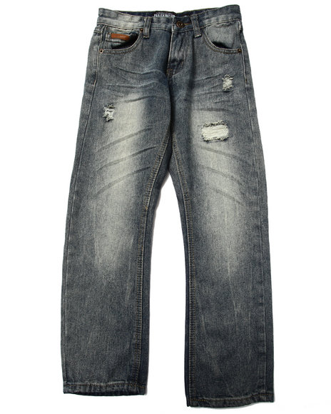 Parish - Boys Vintage Wash Suede Trim Distressed Jeans (8-20)