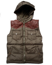Vests - FAUX LEATHER PATCH PUFF VEST (8-20)