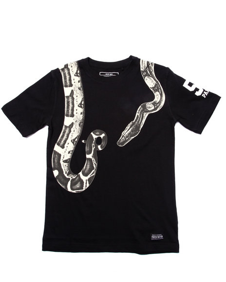 Parish - Boys Black S/S Embroidered Snake Tee (8-20)