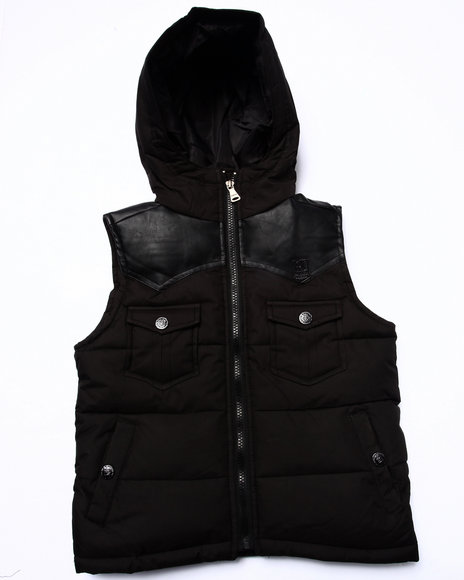 Parish - Boys Black Faux Leather Trim Puff Vest (4-7)
