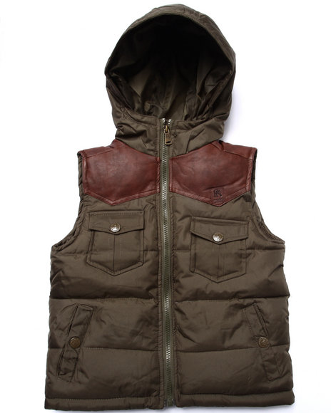 Parish - Boys Olive Faux Leather Patch Puff Vest (4-7)