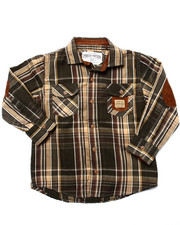 Boys - SUEDE PATCH PLAID WOVEN (4-7)
