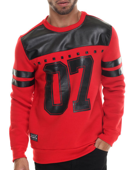 Buyers Picks - Men Black,Red Faux Leather Stud Trim L/S Jersey
