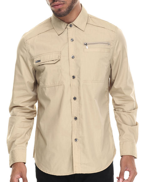 Ur-ID 187894 Buyers Picks - Men Khaki Mo7 Zipper Trim L/S Button Down Shirt