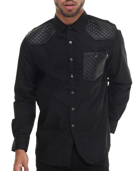 Buyers Picks - Men Black Mo7 Faux Leather Quilted Detail L/S Button Down Shirt