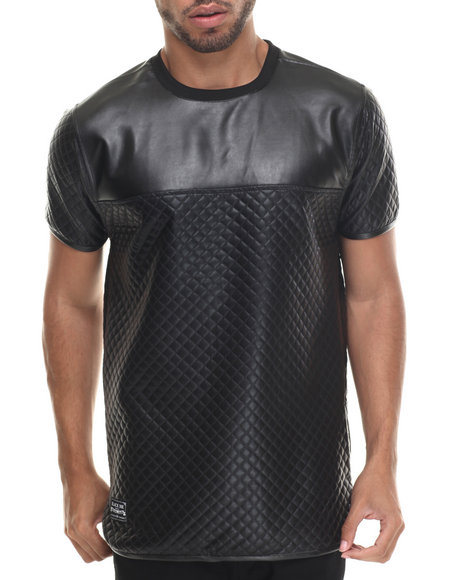 Ur-ID 187918 Buyers Picks - Men Black Quilted Faux Leather/Side Seam Metal Zipper S/S Shirt