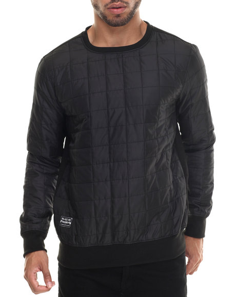 Ur-ID 187922 Buyers Picks - Men Black Nylon Square Quilting Crewneck Sweatshirt by Buyers Picks