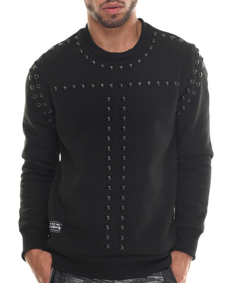 Buyers Picks - Men Black Nail Head Crewneck Sweatshirt