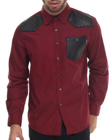 Buyers Picks - Men Maroon Mo7 Faux Leather Quilted Detail L/S Button Down Shirt - $48.00