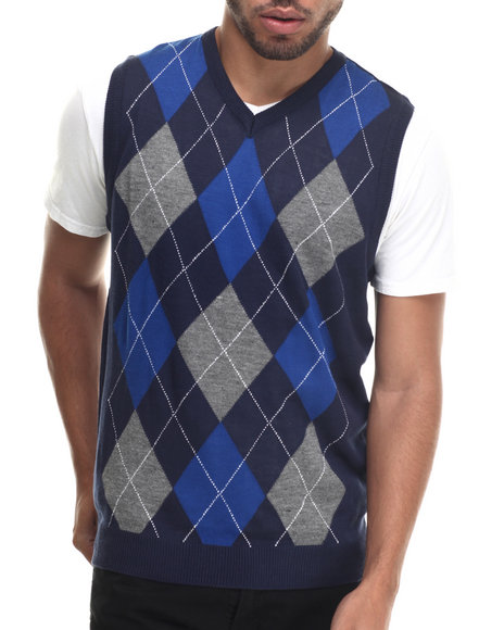 Buyers Picks - Men Navy Argyle Ii Sleeveless Sweater