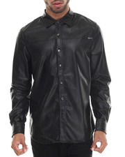 Buyers Picks - Full Faux Leather Perf  L/S Button Down Shirt