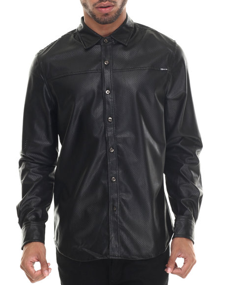 Buyers Picks - Men Black Full Faux Leather Perf  L/S Button Down Shirt
