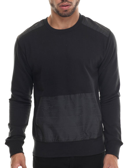 Buyers Picks - Men Black Nylon Trim Fleece Crewneck