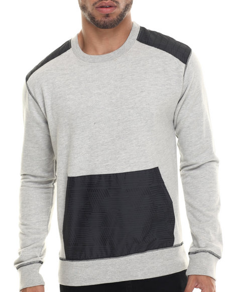 Buyers Picks - Men Grey Nylon Trim Fleece Crewneck
