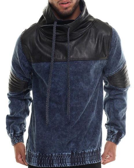 Buyers Picks - Men Medium Wash Washed French Terry Chimney - Neck Pullover Hoodie W/ Faux Leather Trim - $92.00
