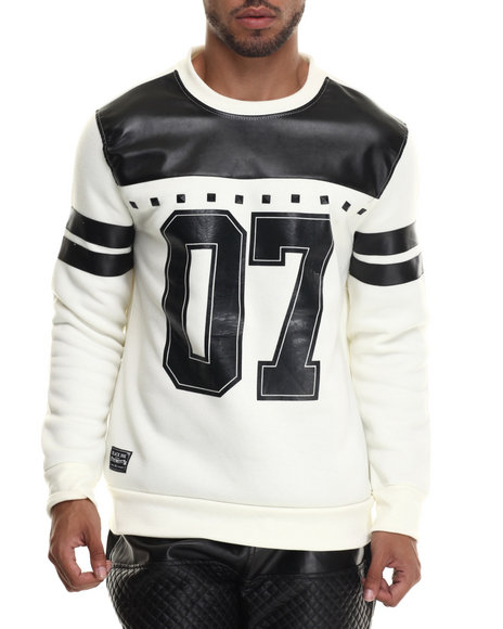 Ur-ID 187892 Buyers Picks - Men Off White Faux Leather Stud Trim L/S Jersey