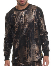 Sweatshirts & Sweaters - Animal Print/Zipper Trim L/S Shirt