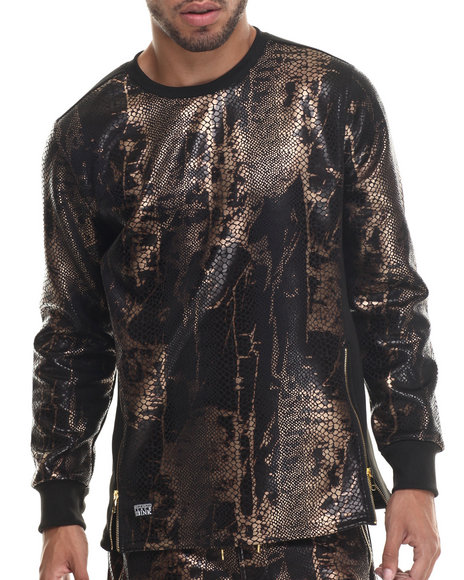 Ur-ID 187920 Buyers Picks - Men Black,Bronze Animal Print/Zipper Trim L/S Shirt