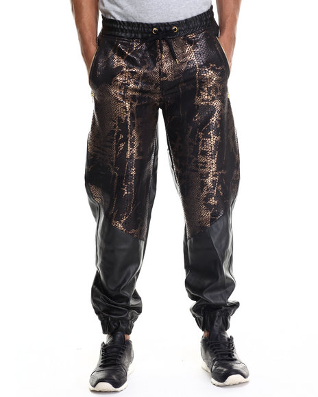 Buyers Picks - Men Black,Bronze Animal Print/Faux Leather Jogger Pant