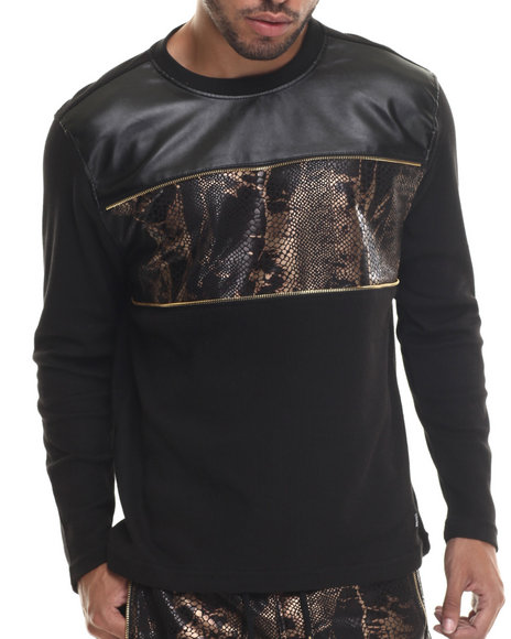 Ur-ID 187926 Buyers Picks - Men Black,Bronze Faux Snakeskin Chest Trim Thermal L/S Shirt