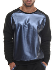 Sweatshirts & Sweaters - Faux Leather Metallic raglan Crewneck Sweatshirt