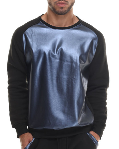 Ur-ID 187927 Buyers Picks - Men Black,Midnight Faux Leather Metallic Raglan Crewneck Sweatshirt