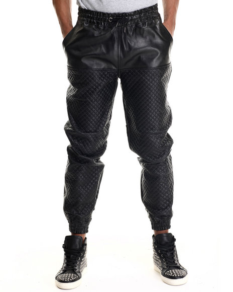 Mo7 - Men Black Mo7 Faux Leather Quilted Jogger Pant