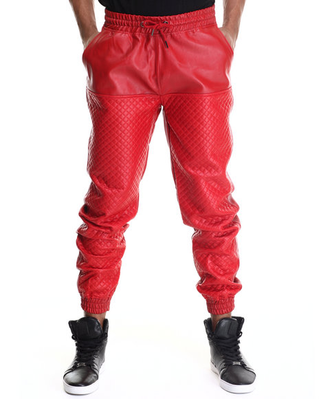 Mo7 - Men Red Mo7 Faux Leather Quilted Jogger Pant