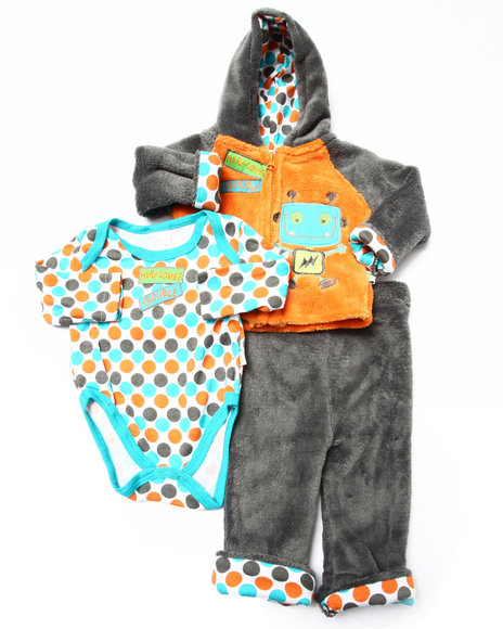 Duck Duck Goose - Boys Orange 3 Pc Robot Sherpa Set (Newborn)