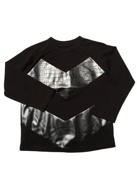 Akademiks - Boys Black Embossed Croc Shirt (4-7)