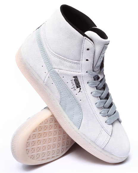 Puma - Men Grey Suede Classic Mid Rebel Mix Sneakers