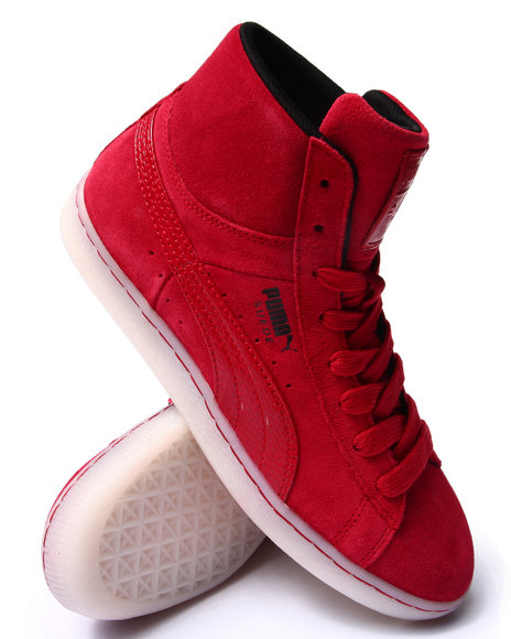 Puma - Men Red Suede Classic Mid Rebel Mix Sneakers