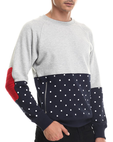 Ur-ID 187949 Buyers Picks - Men Grey Bear The Beams Polka Dot Crewneck Sweatshirt
