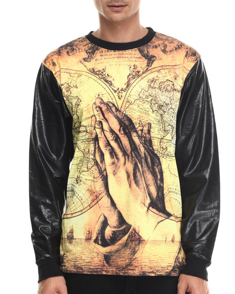 Buyers Picks - Men Black World In Hands Sublimated L/S Shirt