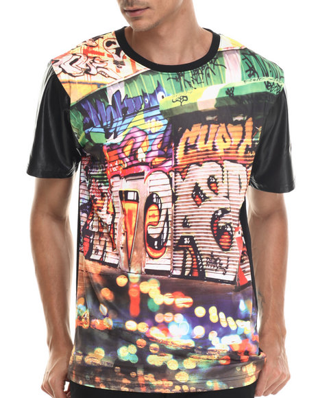Ur-ID 187963 Buyers Picks - Men Black Wall Sublimation Faux Leather Sleeve Tee
