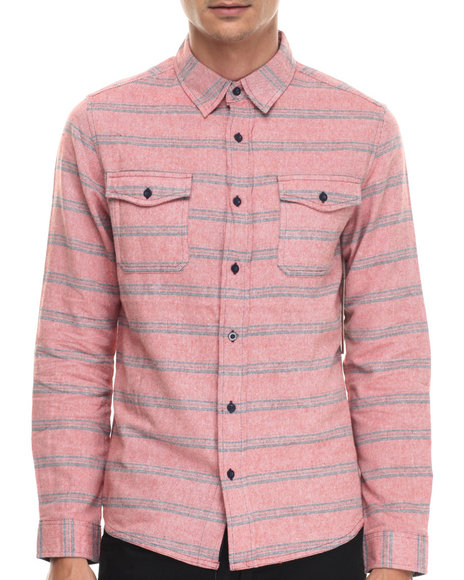 Ur-ID 187977 Waimea - Men Orange Thick - Stitch Striped L/S Button-Down
