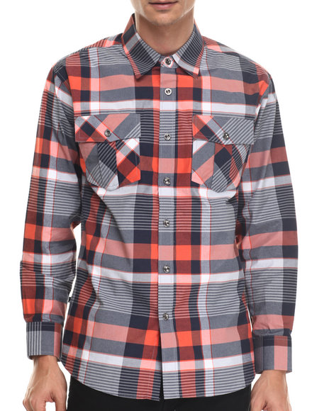 Ur-ID 187994 Buyers Picks - Men Orange Jay Dee L/S Button Down Shirt