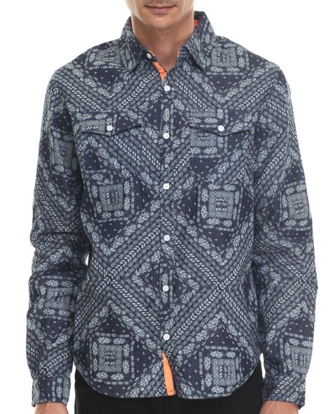 Waimea - Men Blue Bandana - Print L/S Button-Down
