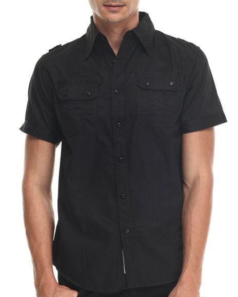 Basic Essentials - Men Black Rag Dynasty S/S Button-Down