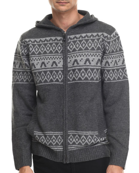 Basic Essentials - Men Grey Tribal Knit Front - Zip Hooded Sweater