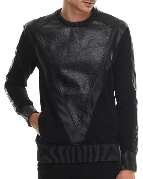 Ur-ID 188125 Frost Originals - Men Black Exotic Thrill Crewneck Sweatshirt W/ Embossed Split Leather Detail