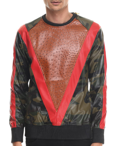Frost Originals - Men Camo Exotic Thrill Crewneck Sweatshirt W/ Embossed Split Leather Detail