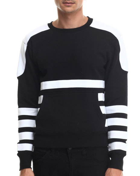 Ur-ID 187965 Buyers Picks - Men Black Bear The Beams Front - Pocket Striped Crewneck Sweatshirt